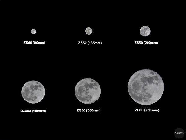 Supermoon at different focal lengths. Photo credit: atmtxphoto.com