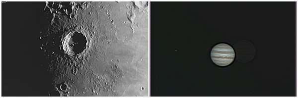 Crater Copernicus and Jupiter. Photos by Tom Arnold.