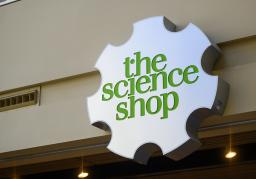 Sign at the entrance to Science Museum Oklahoma's museum store reads The Science Shop